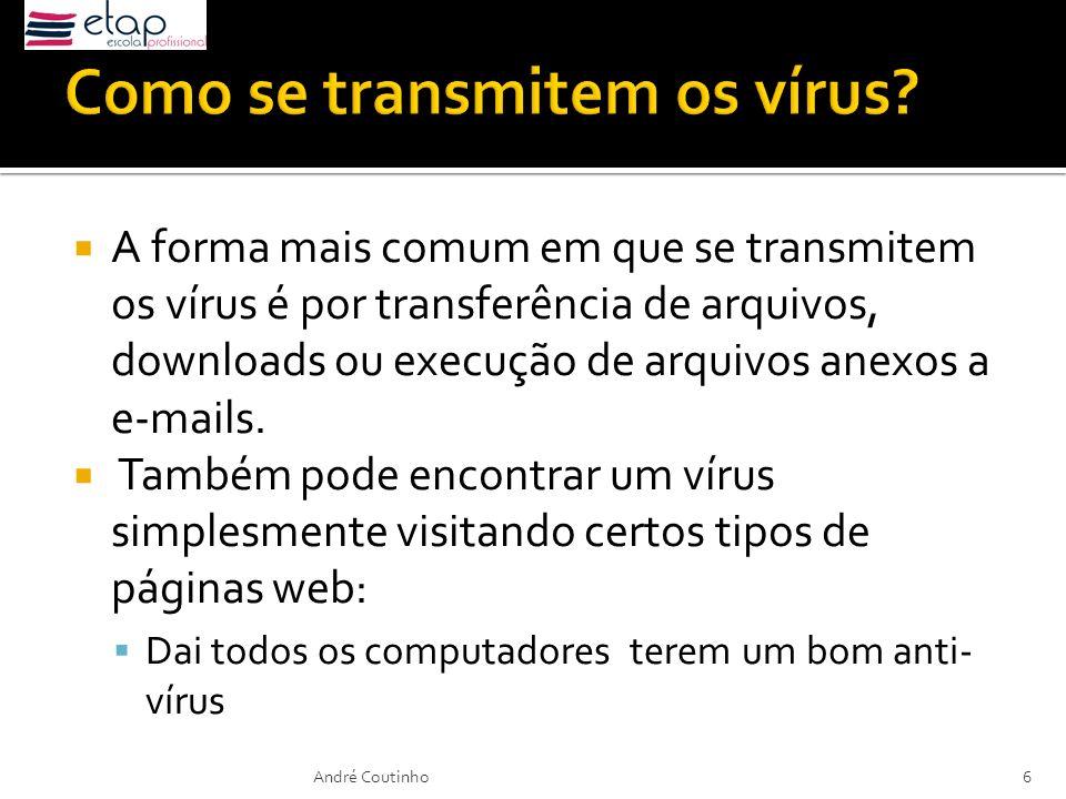 A forma mais comum em que se transmitem os vírus é por transferência de arquivos, downloads ou execução de arquivos anexos a e-mails. Também pode enco