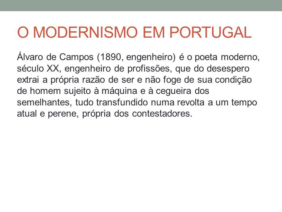 O MODERNISMO EM PORTUGAL Álvaro de Campos (1890, engenheiro) é o poeta moderno, século XX, engenheiro de profissões, que do desespero extrai a própria
