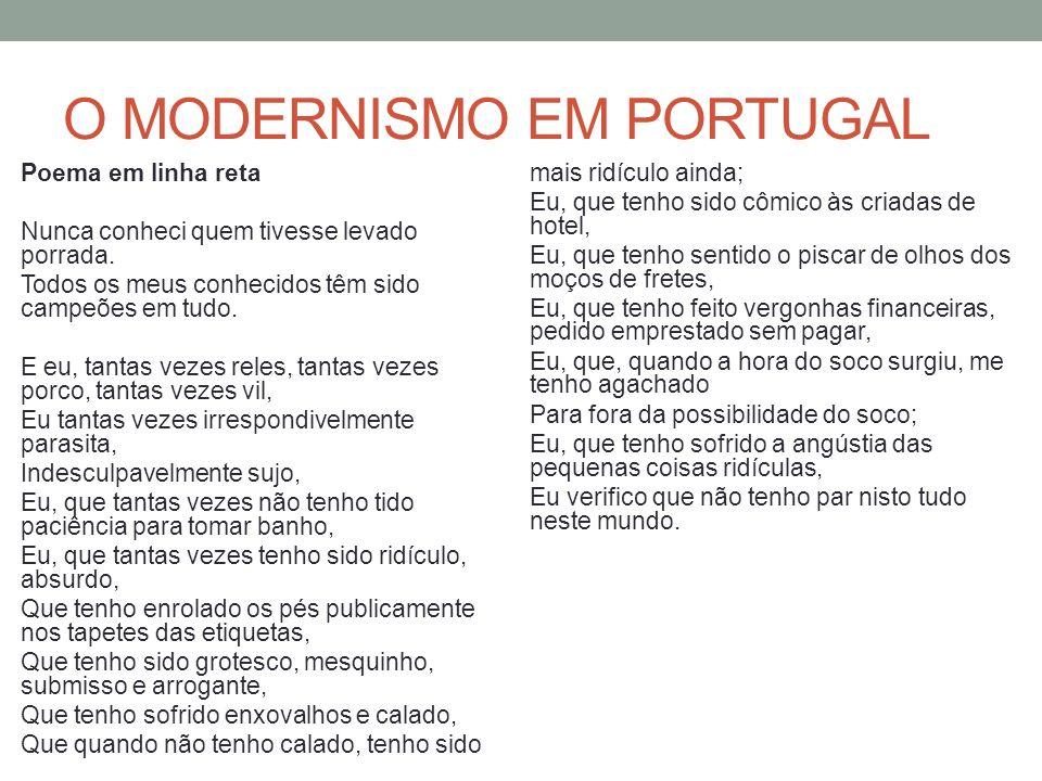 O MODERNISMO EM PORTUGAL Poema em linha reta Nunca conheci quem tivesse levado porrada. Todos os meus conhecidos têm sido campeões em tudo. E eu, tant