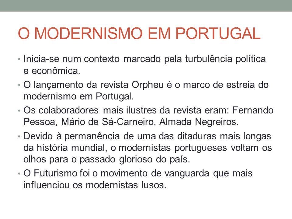 O MODERNISMO EM PORTUGAL Inicia-se num contexto marcado pela turbulência política e econômica. O lançamento da revista Orpheu é o marco de estreia do