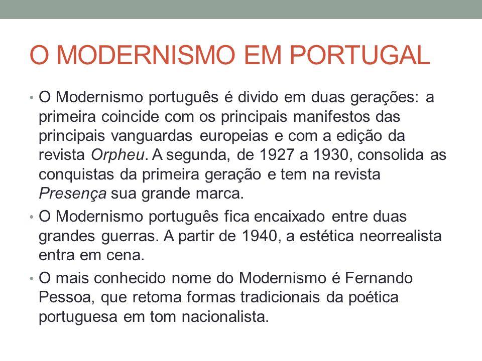 O MODERNISMO EM PORTUGAL O Modernismo português é divido em duas gerações: a primeira coincide com os principais manifestos das principais vanguardas