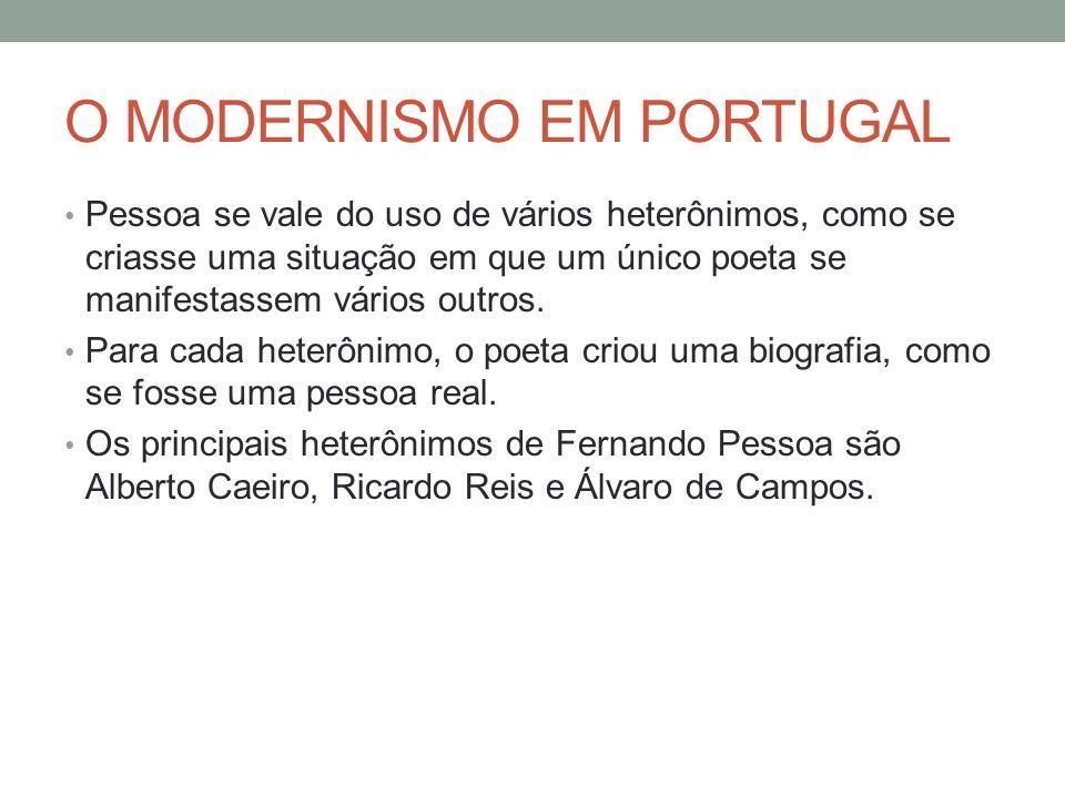 O MODERNISMO EM PORTUGAL Pessoa se vale do uso de vários heterônimos, como se criasse uma situação em que um único poeta se manifestassem vários outro
