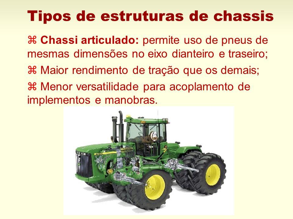 Tipos de estruturas de chassis z Chassi articulado: permite uso de pneus de mesmas dimensões no eixo dianteiro e traseiro; z Maior rendimento de traçã