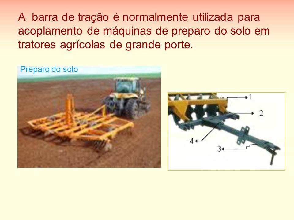A barra de tração é normalmente utilizada para acoplamento de máquinas de preparo do solo em tratores agrícolas de grande porte. Preparo do solo