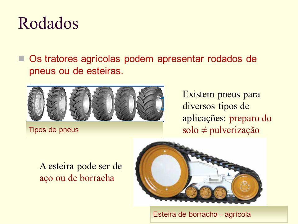 Rodados Os tratores agrícolas podem apresentar rodados de pneus ou de esteiras. Tipos de pneus Esteira de borracha - agrícola Existem pneus para diver