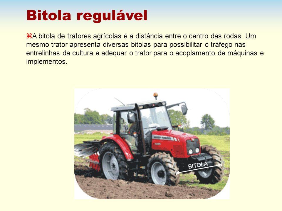 Bitola regulável z A bitola de tratores agrícolas é a distância entre o centro das rodas. Um mesmo trator apresenta diversas bitolas para possibilitar