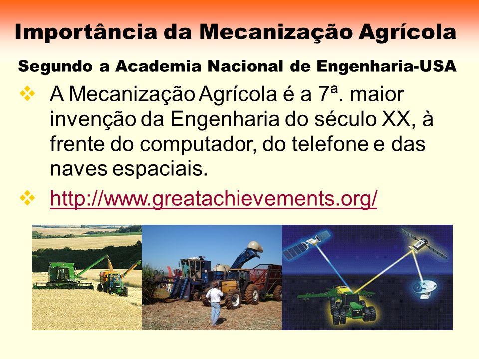 Importância da Mecanização Agrícola Segundo a Academia Nacional de Engenharia-USA A Mecanização Agrícola é a 7ª. maior invenção da Engenharia do sécul