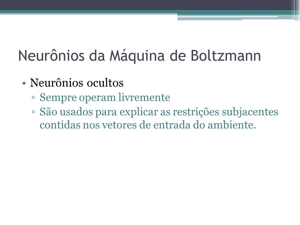 Neurônios da Máquina de Boltzmann Neurônios ocultos Sempre operam livremente São usados para explicar as restrições subjacentes contidas nos vetores de entrada do ambiente.