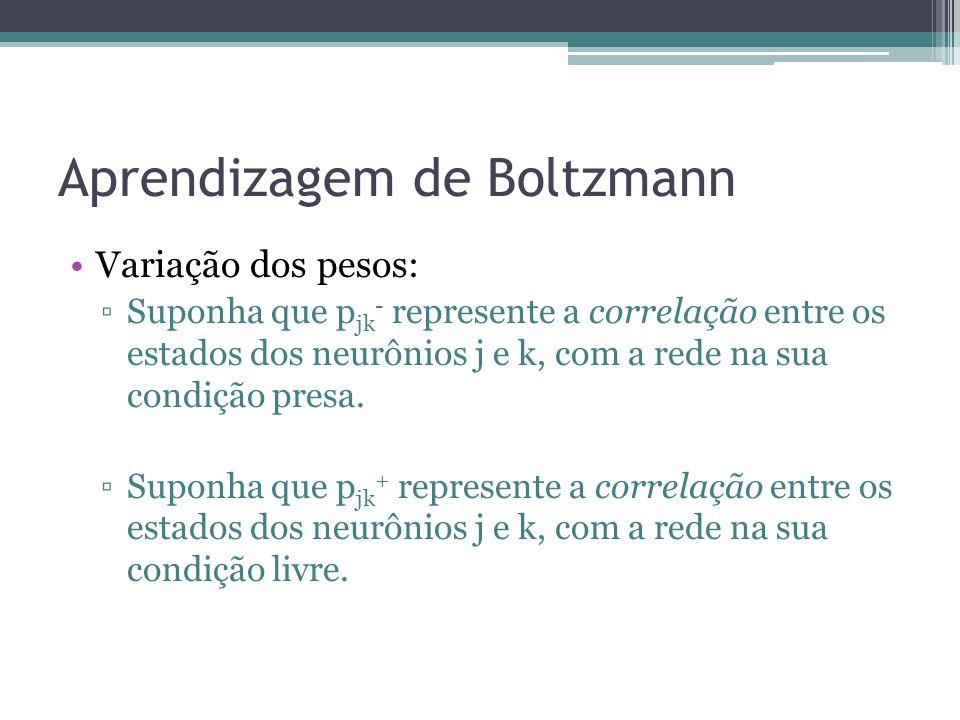 Aprendizagem de Boltzmann Variação dos pesos: Suponha que p jk - represente a correlação entre os estados dos neurônios j e k, com a rede na sua condição presa.