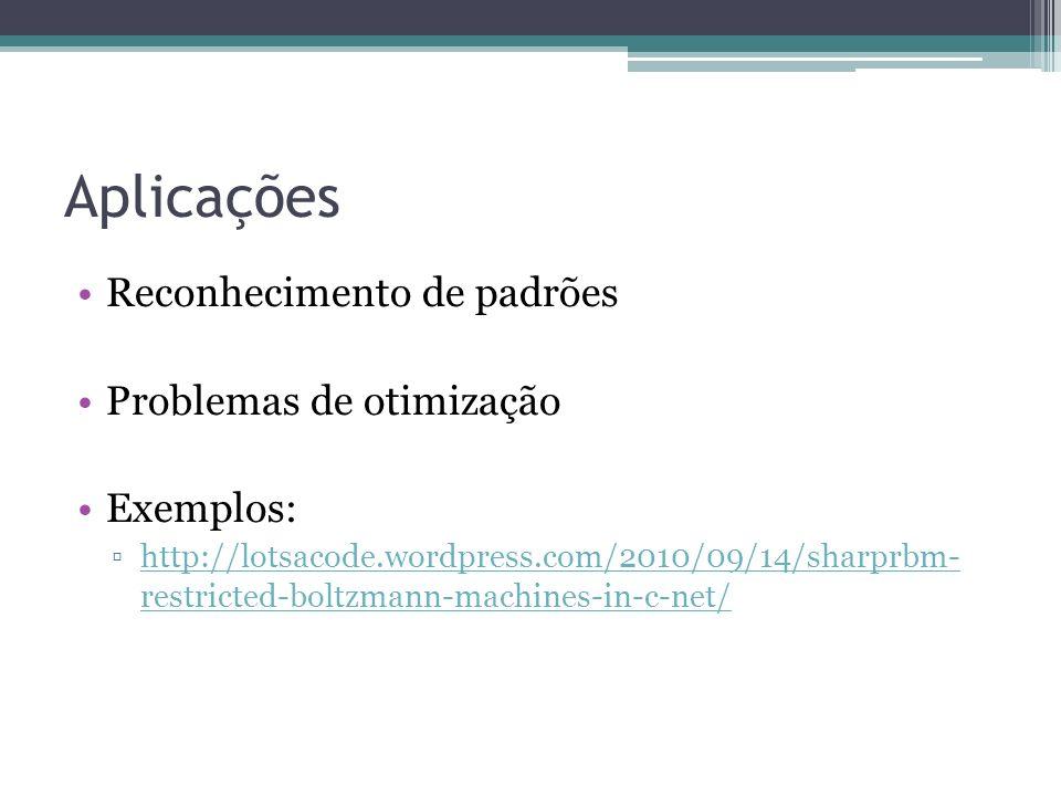 Aplicações Reconhecimento de padrões Problemas de otimização Exemplos: http://lotsacode.wordpress.com/2010/09/14/sharprbm- restricted-boltzmann-machines-in-c-net/http://lotsacode.wordpress.com/2010/09/14/sharprbm- restricted-boltzmann-machines-in-c-net/