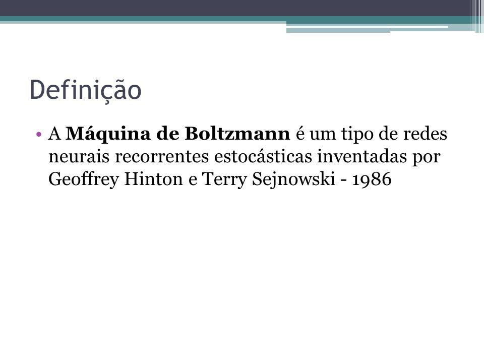 Definição A Máquina de Boltzmann é um tipo de redes neurais recorrentes estocásticas inventadas por Geoffrey Hinton e Terry Sejnowski - 1986