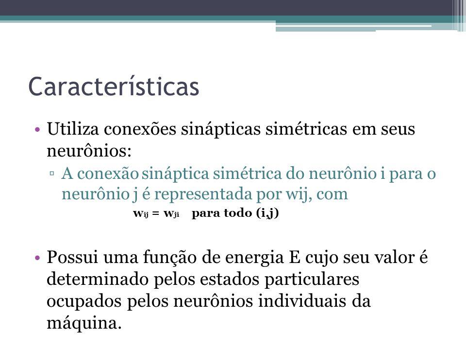Características Utiliza conexões sinápticas simétricas em seus neurônios: A conexão sináptica simétrica do neurônio i para o neurônio j é representada por wij, com w ij = w ji para todo (i,j) Possui uma função de energia E cujo seu valor é determinado pelos estados particulares ocupados pelos neurônios individuais da máquina.