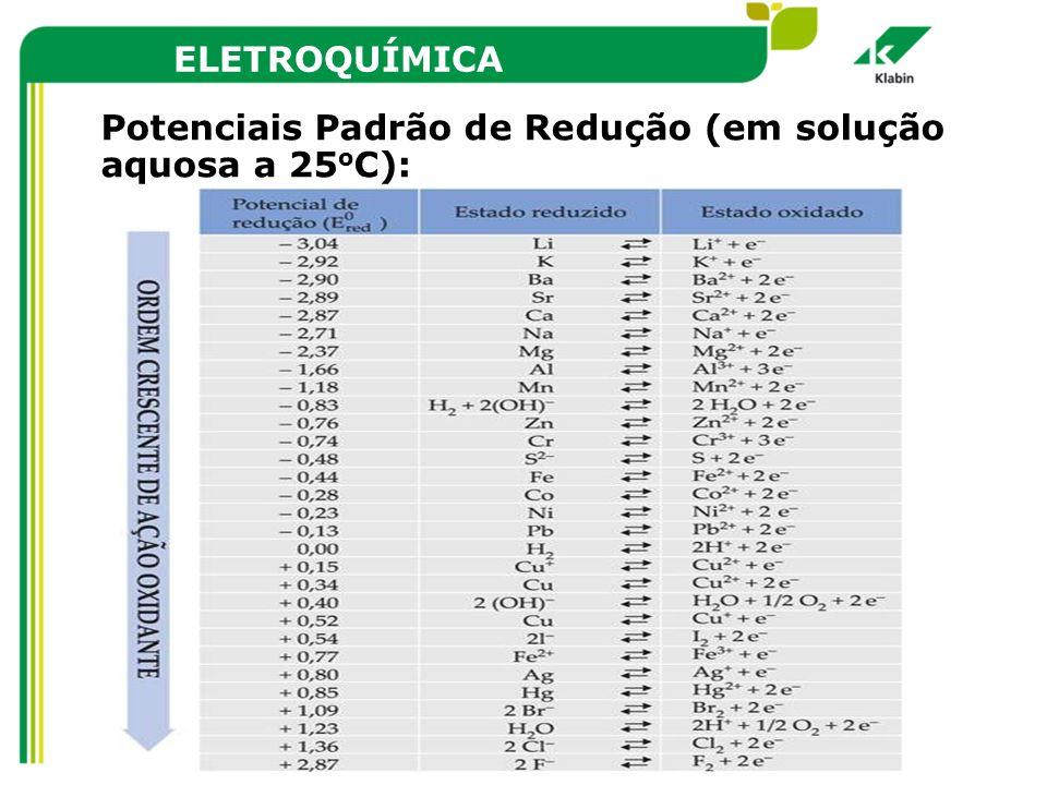 ELETROQUÍMICA Potenciais Padrão de Redução (em solução aquosa a 25 o C):