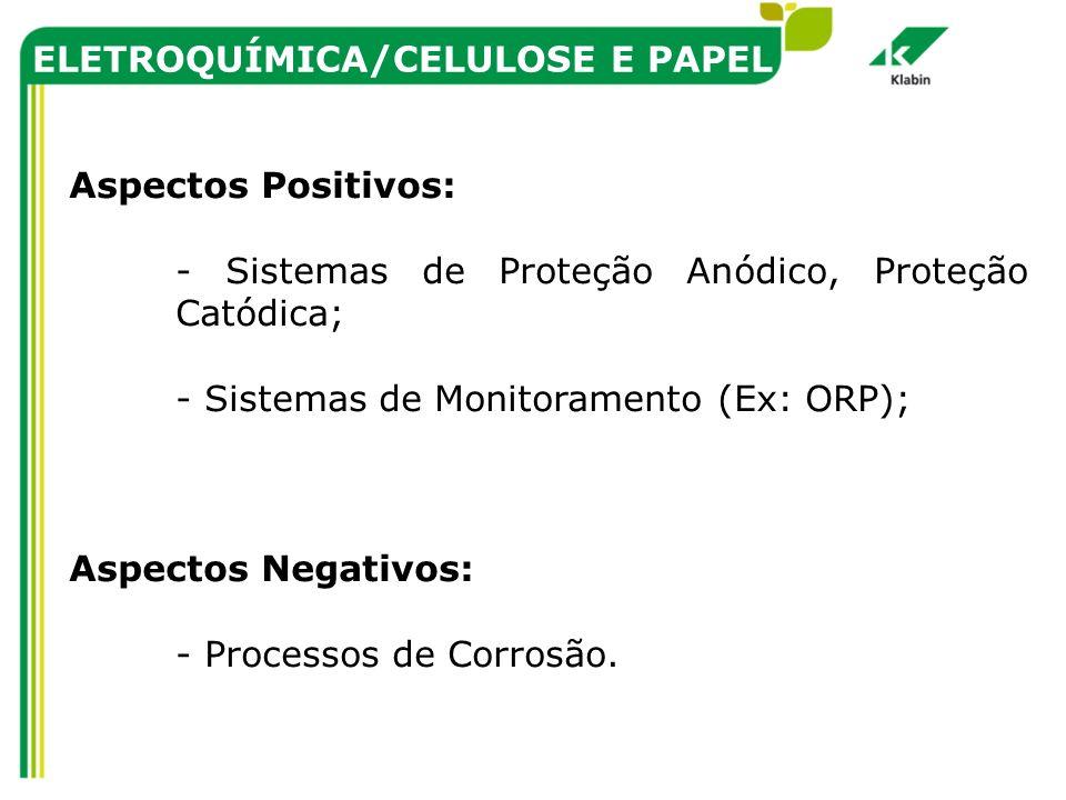 ELETROQUÍMICA/CELULOSE E PAPEL Aspectos Positivos: - Sistemas de Proteção Anódico, Proteção Catódica; - Sistemas de Monitoramento (Ex: ORP); Aspectos