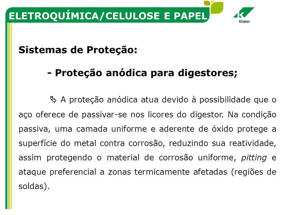 ELETROQUÍMICA/CELULOSE E PAPEL Sistemas de Proteção: - Proteção anódica para digestores; A proteção anódica atua devido à possibilidade que o aço ofer