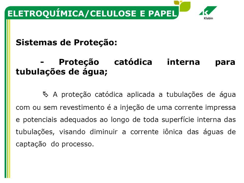 ELETROQUÍMICA/CELULOSE E PAPEL Sistemas de Proteção: - Proteção catódica interna para tubulações de água; A proteção catódica aplicada a tubulações de