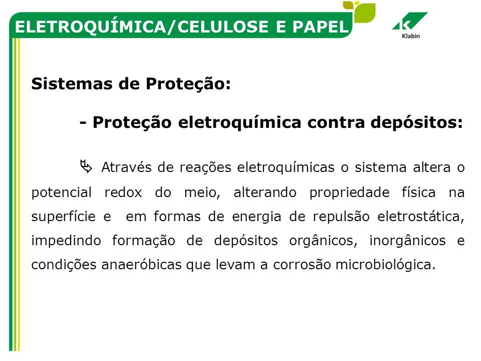 ELETROQUÍMICA/CELULOSE E PAPEL Sistemas de Proteção: - Proteção eletroquímica contra depósitos: Através de reações eletroquímicas o sistema altera o p