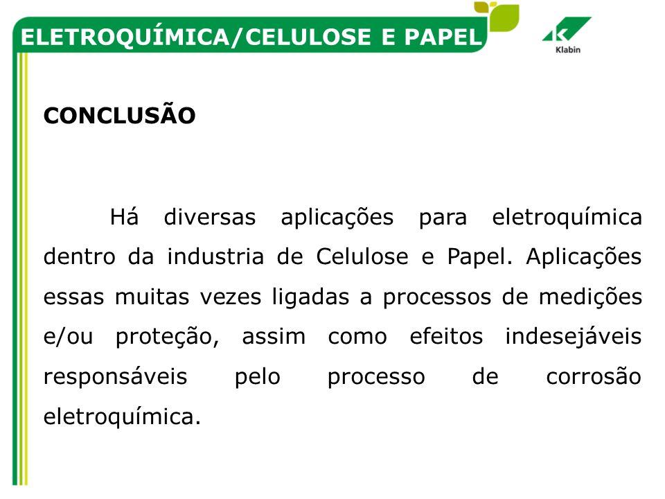ELETROQUÍMICA/CELULOSE E PAPEL CONCLUSÃO Há diversas aplicações para eletroquímica dentro da industria de Celulose e Papel. Aplicações essas muitas ve