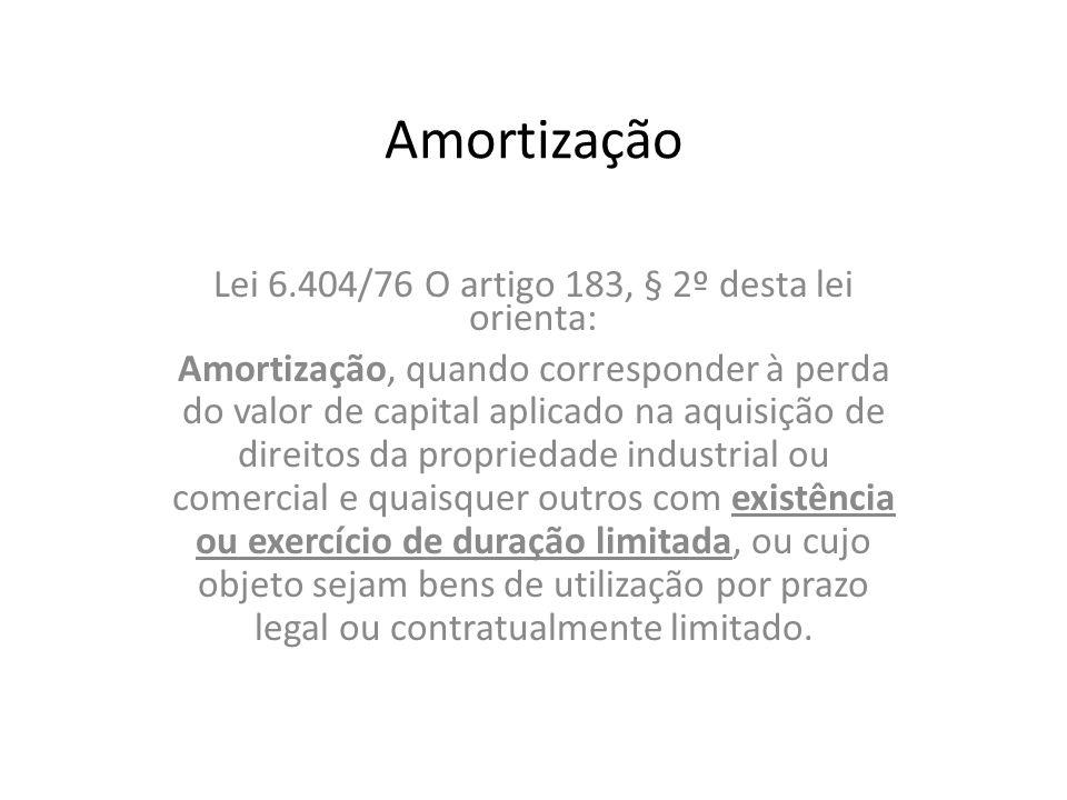 Amortização Lei 6.404/76 O artigo 183, § 2º desta lei orienta: Amortização, quando corresponder à perda do valor de capital aplicado na aquisição de d