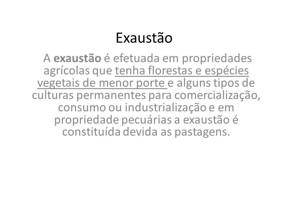 Exaustão A exaustão é efetuada em propriedades agrícolas que tenha florestas e espécies vegetais de menor porte e alguns tipos de culturas permanentes