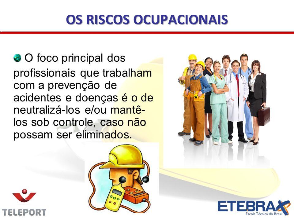 OS RISCOS OCUPACIONAIS O foco principal dos profissionais que trabalham com a prevenção de acidentes e doenças é o de neutralizá-los e/ou mantê- los s