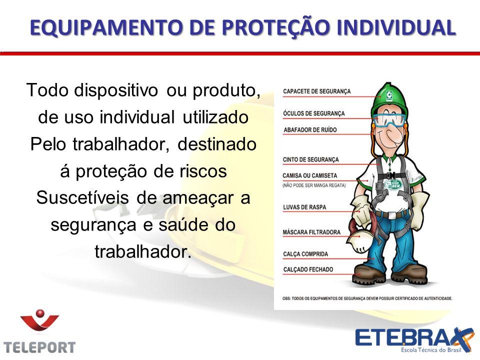 EQUIPAMENTO DE PROTEÇÃO INDIVIDUAL Todo dispositivo ou produto, de uso individual utilizado Pelo trabalhador, destinado á proteção de riscos Suscetíve