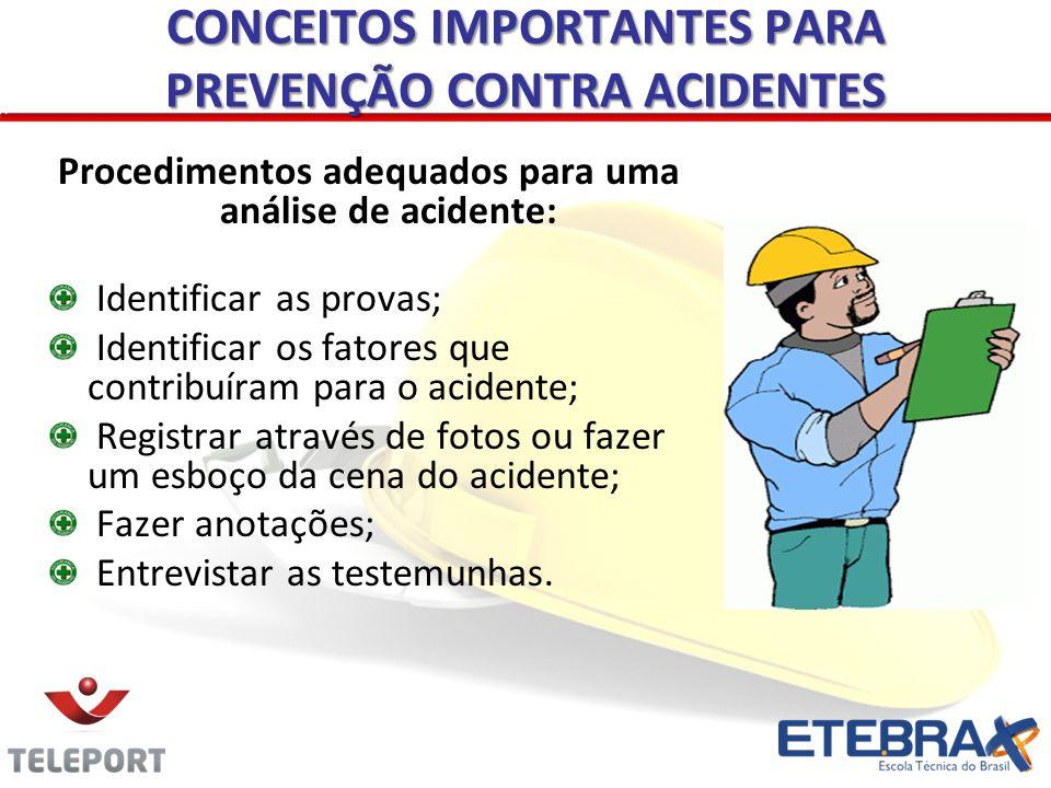 Procedimentos adequados para uma análise de acidente: Identificar as provas; Identificar os fatores que contribuíram para o acidente; Registrar atravé