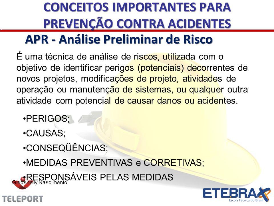 Gledsnelly Nascimento APR - Análise Preliminar de Risco É uma técnica de análise de riscos, utilizada com o objetivo de identificar perigos (potenciai