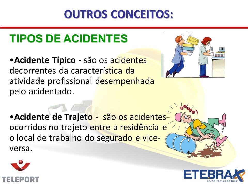 Acidente Típico - são os acidentes decorrentes da característica da atividade profissional desempenhada pelo acidentado. Acidente de Trajeto - são os