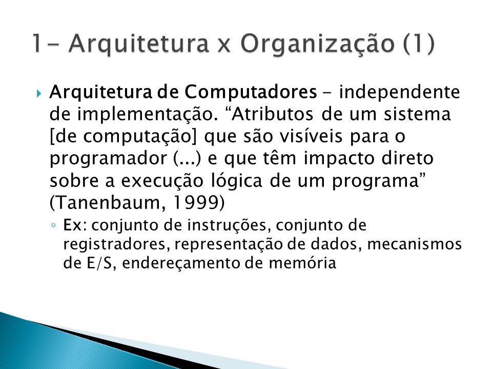 Arquitetura de Computadores - independente de implementação.
