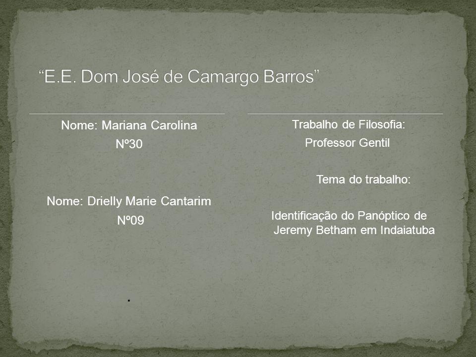 Nome: Mariana Carolina Nº30 Nome: Drielly Marie Cantarim Nº09. Trabalho de Filosofia: Professor Gentil Tema do trabalho: Identificação do Panóptico de