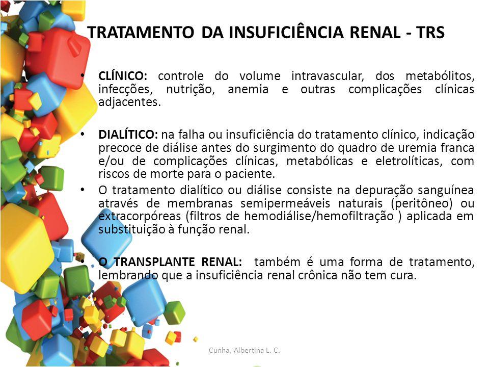 TRATAMENTO DA INSUFICIÊNCIA RENAL - TRS CLÍNICO: controle do volume intravascular, dos metabólitos, infecções, nutrição, anemia e outras complicações