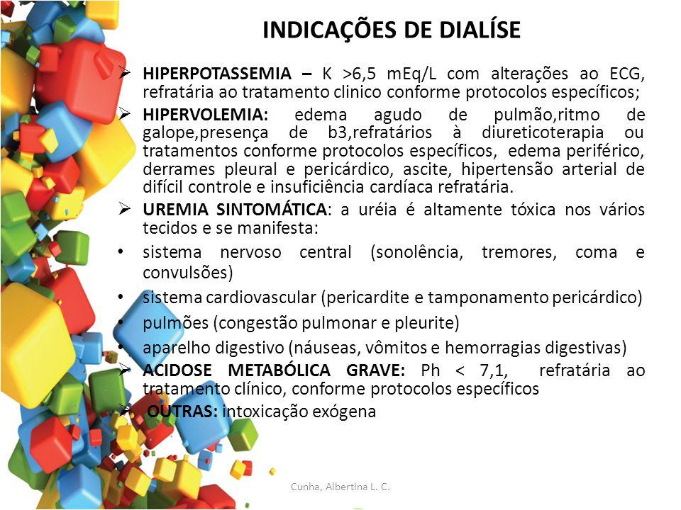 INDICAÇÕES DE DIALÍSE HIPERPOTASSEMIA – K >6,5 mEq/L com alterações ao ECG, refratária ao tratamento clinico conforme protocolos específicos; HIPERVOL