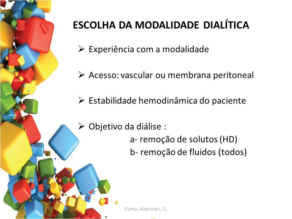 ESCOLHA DA MODALIDADE DIALÍTICA Experiência com a modalidade Acesso: vascular ou membrana peritoneal Estabilidade hemodinâmica do paciente Objetivo da