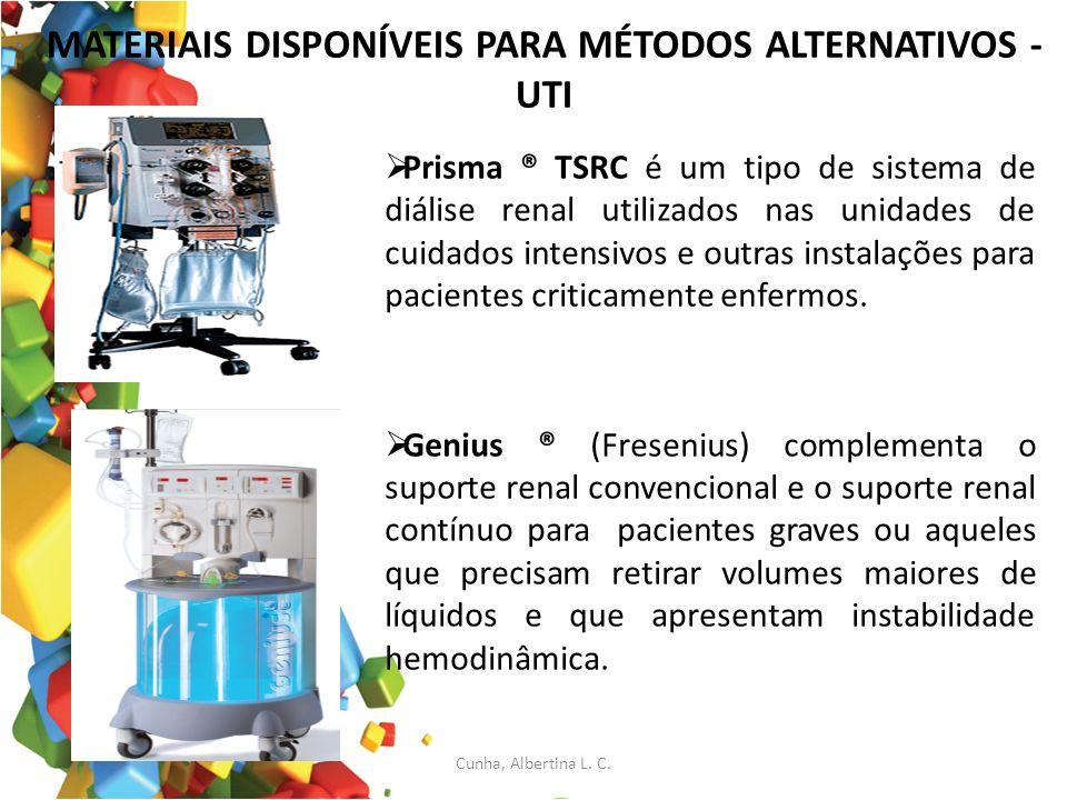MATERIAIS DISPONÍVEIS PARA MÉTODOS ALTERNATIVOS - UTI Prisma ® TSRC é um tipo de sistema de diálise renal utilizados nas unidades de cuidados intensiv