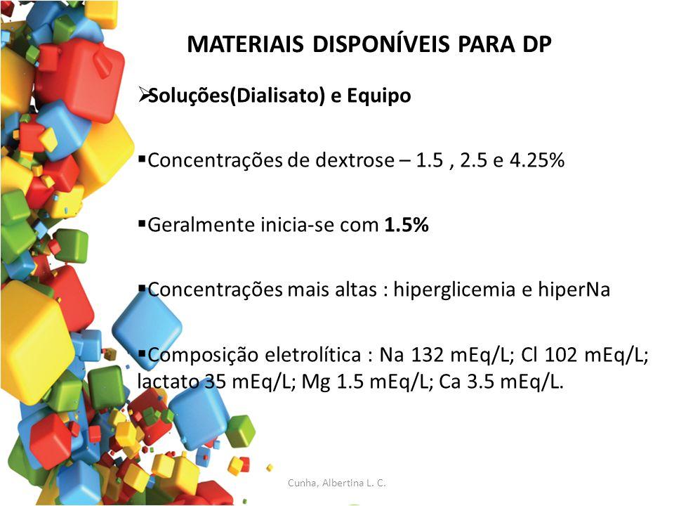 MATERIAIS DISPONÍVEIS PARA DP Soluções(Dialisato) e Equipo Concentrações de dextrose – 1.5, 2.5 e 4.25% Geralmente inicia-se com 1.5% Concentrações ma