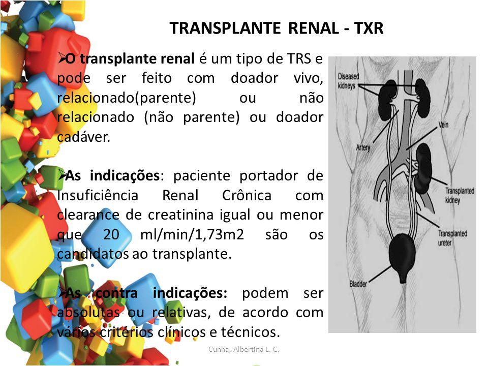 TRANSPLANTE RENAL - TXR O transplante renal é um tipo de TRS e pode ser feito com doador vivo, relacionado(parente) ou não relacionado (não parente) o