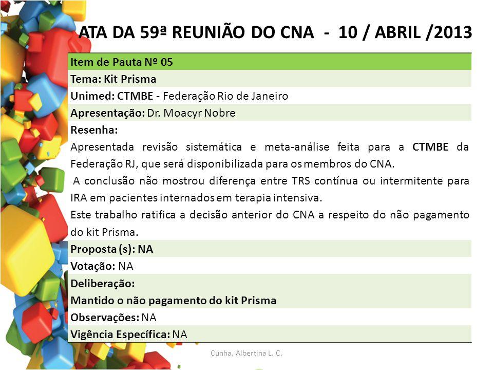 ATA DA 59ª REUNIÃO DO CNA - 10 / ABRIL /2013 Item de Pauta Nº 05 Tema: Kit Prisma Unimed: CTMBE - Federação Rio de Janeiro Apresentação: Dr. Moacyr No