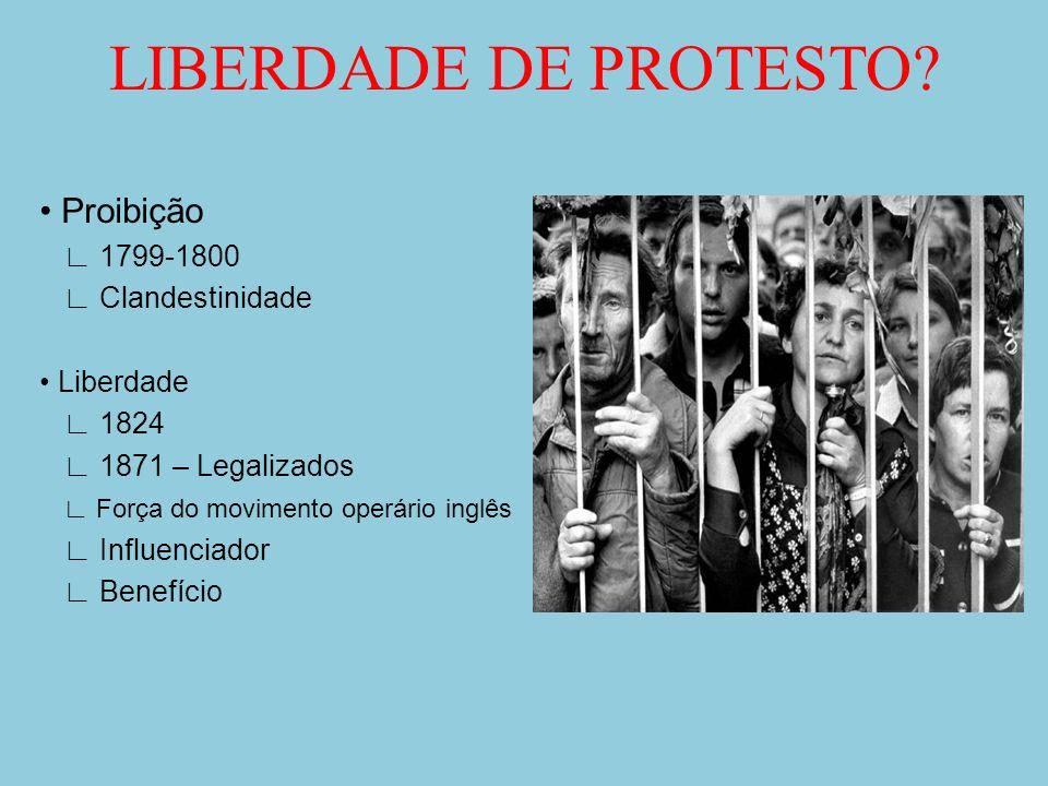 LIBERDADE DE PROTESTO? Proibição 1799-1800 Clandestinidade Liberdade 1824 1871 – Legalizados Força do movimento operário inglês Influenciador Benefíci