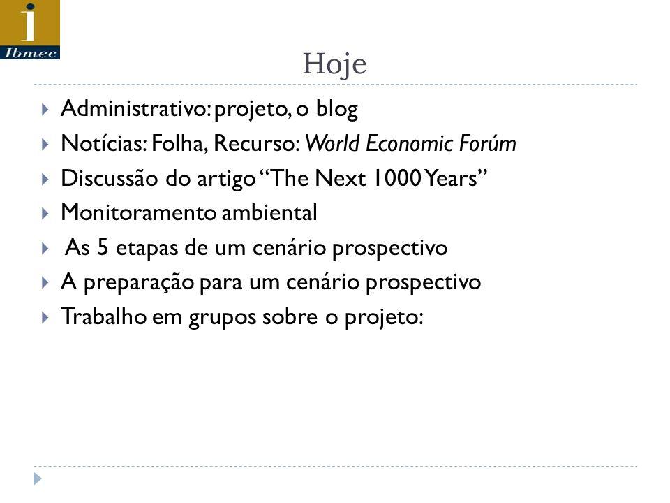 Hoje Administrativo: projeto, o blog Notícias: Folha, Recurso: World Economic Forúm Discussão do artigo The Next 1000 Years Monitoramento ambiental As 5 etapas de um cenário prospectivo A preparação para um cenário prospectivo Trabalho em grupos sobre o projeto: