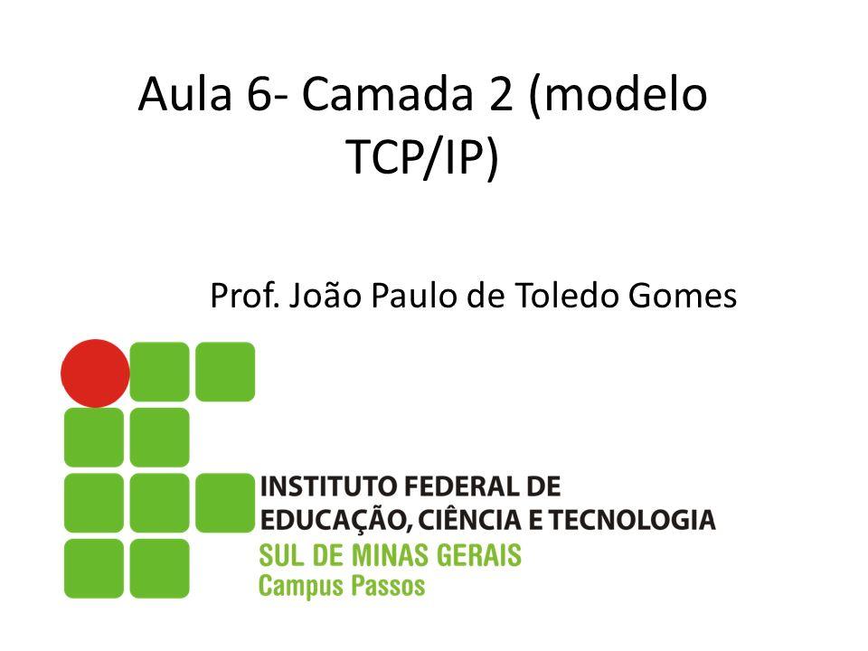 Aula 6- Camada 2 (modelo TCP/IP) Prof. João Paulo de Toledo Gomes
