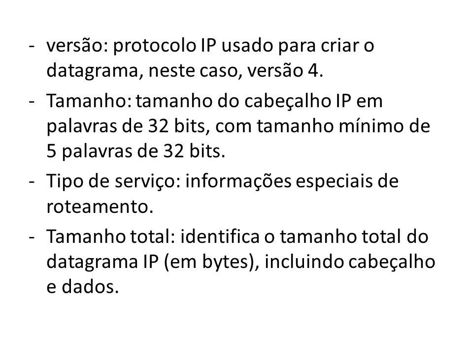 -versão: protocolo IP usado para criar o datagrama, neste caso, versão 4. -Tamanho: tamanho do cabeçalho IP em palavras de 32 bits, com tamanho mínimo