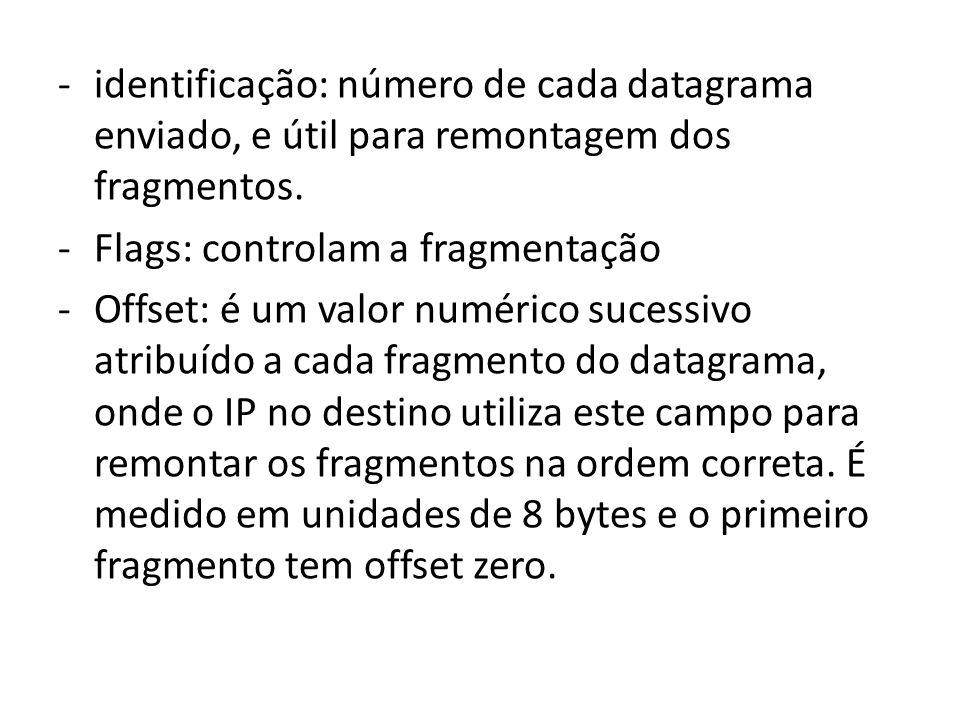 -identificação: número de cada datagrama enviado, e útil para remontagem dos fragmentos. -Flags: controlam a fragmentação -Offset: é um valor numérico