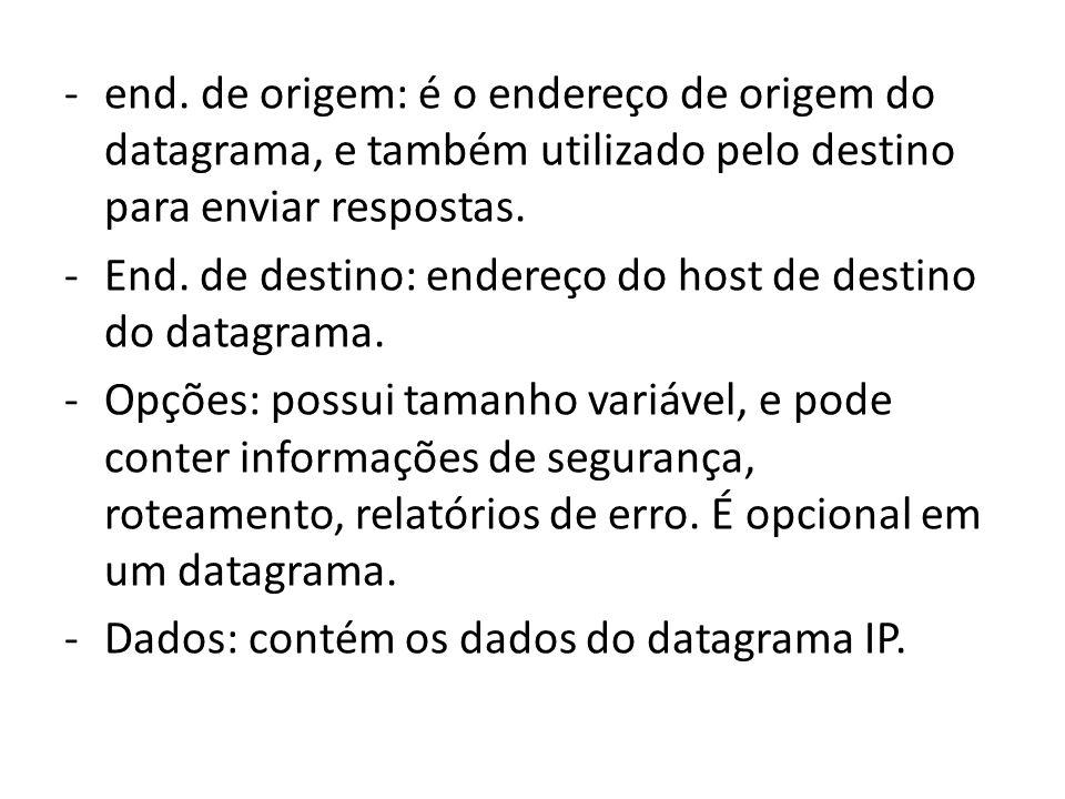 -end. de origem: é o endereço de origem do datagrama, e também utilizado pelo destino para enviar respostas. -End. de destino: endereço do host de des