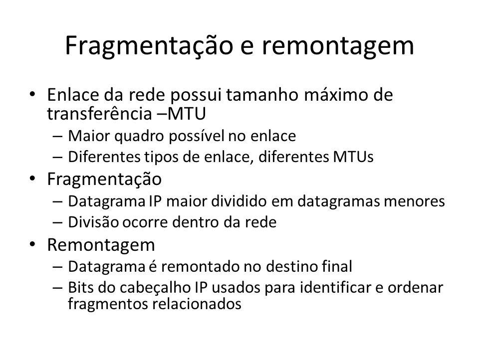 Fragmentação e remontagem Enlace da rede possui tamanho máximo de transferência –MTU – Maior quadro possível no enlace – Diferentes tipos de enlace, d