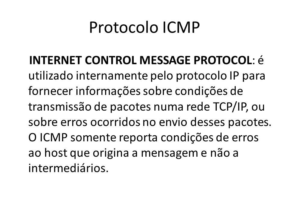 Protocolo ICMP INTERNET CONTROL MESSAGE PROTOCOL: é utilizado internamente pelo protocolo IP para fornecer informações sobre condições de transmissão