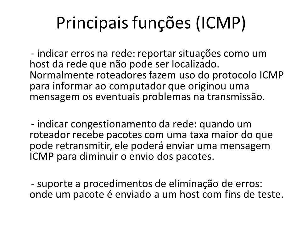 Principais funções (ICMP) - indicar erros na rede: reportar situações como um host da rede que não pode ser localizado. Normalmente roteadores fazem u