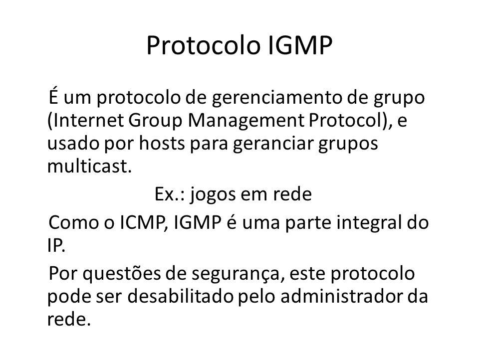 Protocolo IGMP É um protocolo de gerenciamento de grupo (Internet Group Management Protocol), e usado por hosts para geranciar grupos multicast. Ex.: