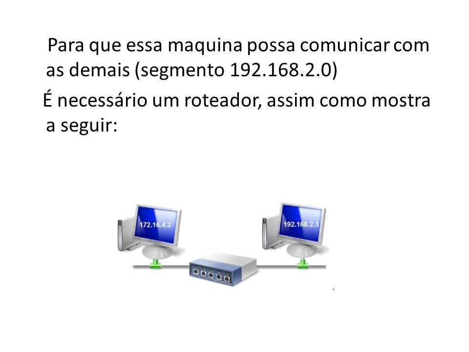 Para que essa maquina possa comunicar com as demais (segmento 192.168.2.0) É necessário um roteador, assim como mostra a seguir: