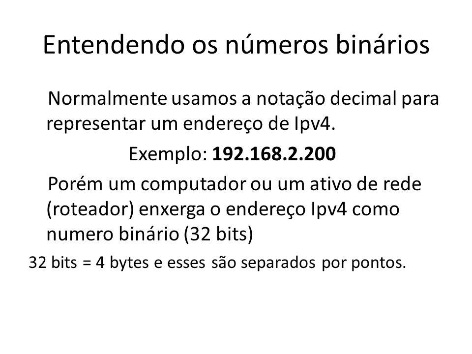 Entendendo os números binários Normalmente usamos a notação decimal para representar um endereço de Ipv4. Exemplo: 192.168.2.200 Porém um computador o